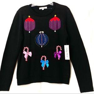 Indigo Rose UglyChristmas Sweater Black LongSleeve
